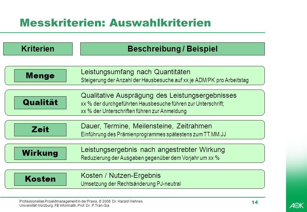 Professionelles Projektmanagement in der Praxis, © 2006 Dr. Harald Wehnes Universität Würzburg, FB Informatik, Prof. Dr. P.Tran-Gia 14 Messkriterien: