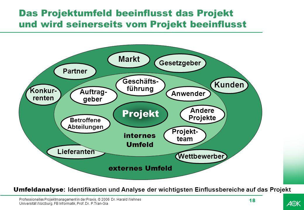 Professionelles Projektmanagement in der Praxis, © 2006 Dr. Harald Wehnes Universität Würzburg, FB Informatik, Prof. Dr. P.Tran-Gia 18 Das Projektumfe