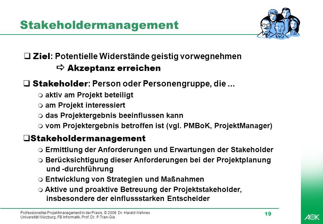 Professionelles Projektmanagement in der Praxis, © 2006 Dr. Harald Wehnes Universität Würzburg, FB Informatik, Prof. Dr. P.Tran-Gia 19 Stakeholdermana