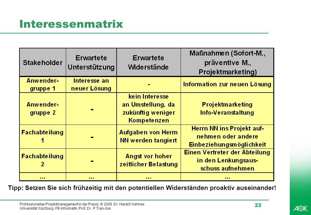 Professionelles Projektmanagement in der Praxis, © 2006 Dr. Harald Wehnes Universität Würzburg, FB Informatik, Prof. Dr. P.Tran-Gia 22 Interessenmatri