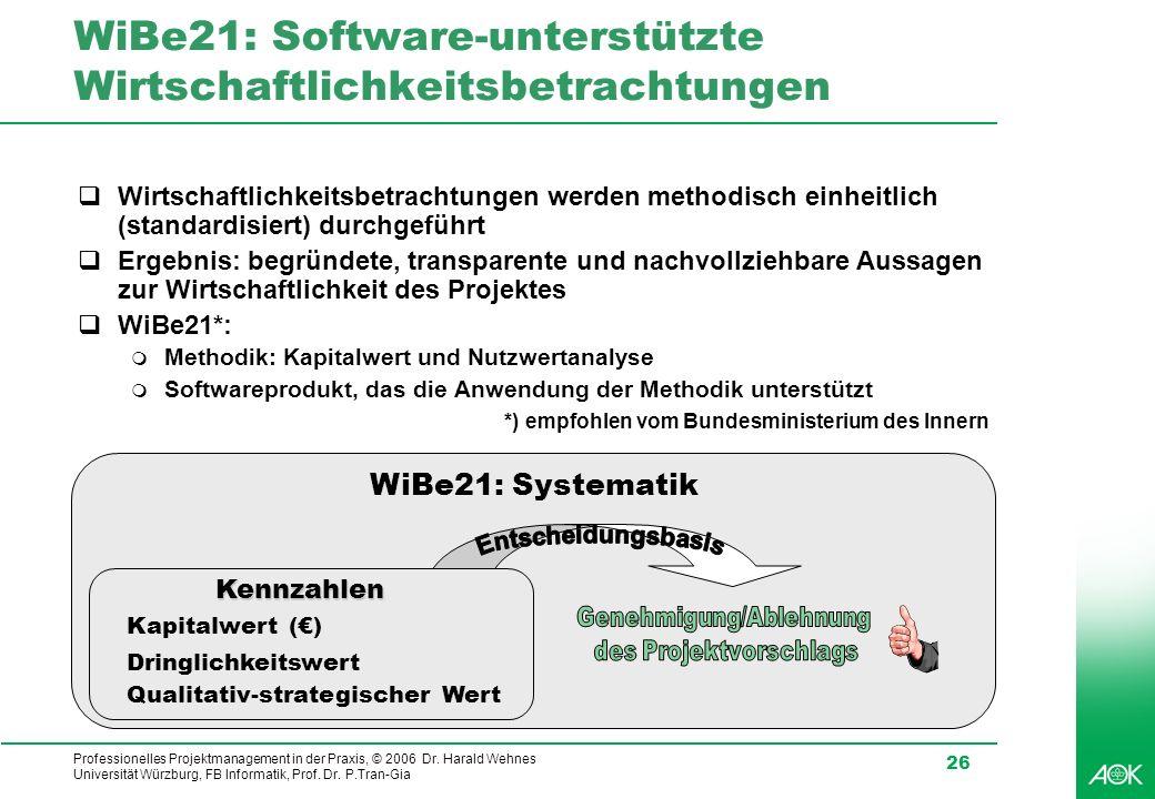 Professionelles Projektmanagement in der Praxis, © 2006 Dr. Harald Wehnes Universität Würzburg, FB Informatik, Prof. Dr. P.Tran-Gia 26 WiBe21: Softwar