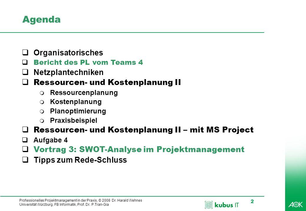 Professionelles Projektmanagement in der Praxis, © 2008 Dr. Harald Wehnes Universität Würzburg, FB Informatik, Prof. Dr. P.Tran-Gia 2 kubus-IT Agenda
