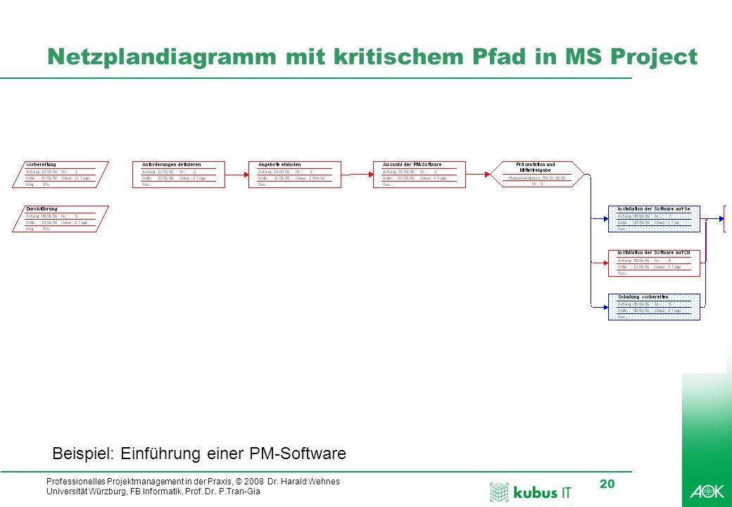 Professionelles Projektmanagement in der Praxis, © 2008 Dr. Harald Wehnes Universität Würzburg, FB Informatik, Prof. Dr. P.Tran-Gia 20 kubus-IT Netzpl