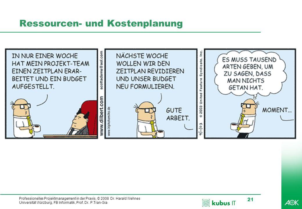 Professionelles Projektmanagement in der Praxis, © 2008 Dr. Harald Wehnes Universität Würzburg, FB Informatik, Prof. Dr. P.Tran-Gia 21 kubus-IT Ressou
