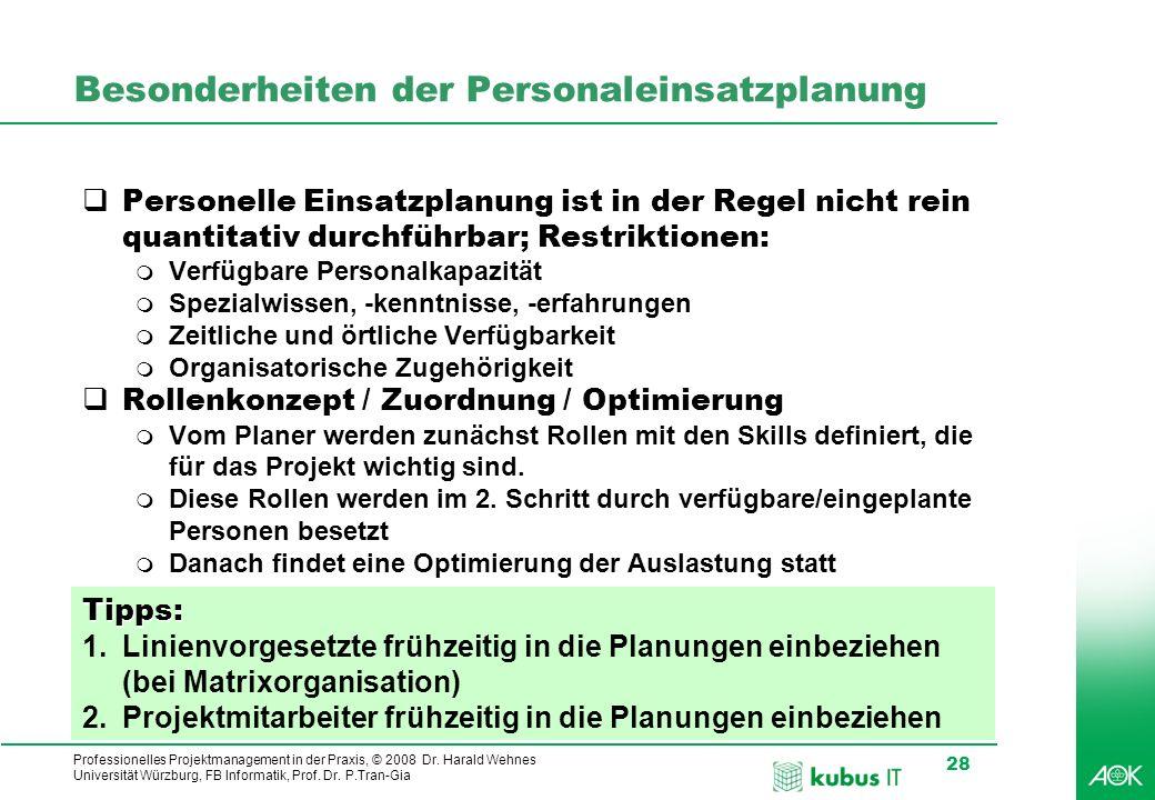 Professionelles Projektmanagement in der Praxis, © 2008 Dr. Harald Wehnes Universität Würzburg, FB Informatik, Prof. Dr. P.Tran-Gia 28 kubus-IT Besond