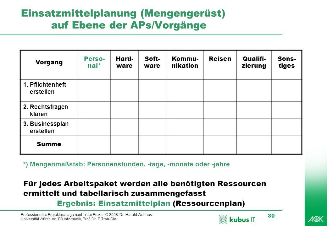 Professionelles Projektmanagement in der Praxis, © 2008 Dr. Harald Wehnes Universität Würzburg, FB Informatik, Prof. Dr. P.Tran-Gia 30 kubus-IT Einsat