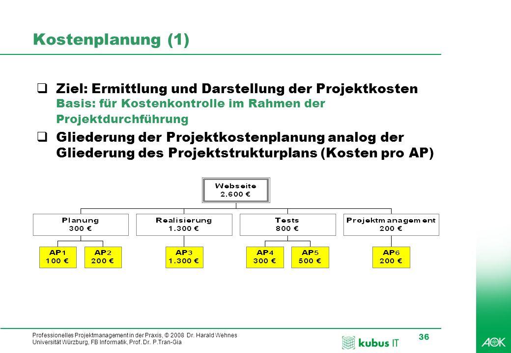 Professionelles Projektmanagement in der Praxis, © 2008 Dr. Harald Wehnes Universität Würzburg, FB Informatik, Prof. Dr. P.Tran-Gia 36 kubus-IT Kosten