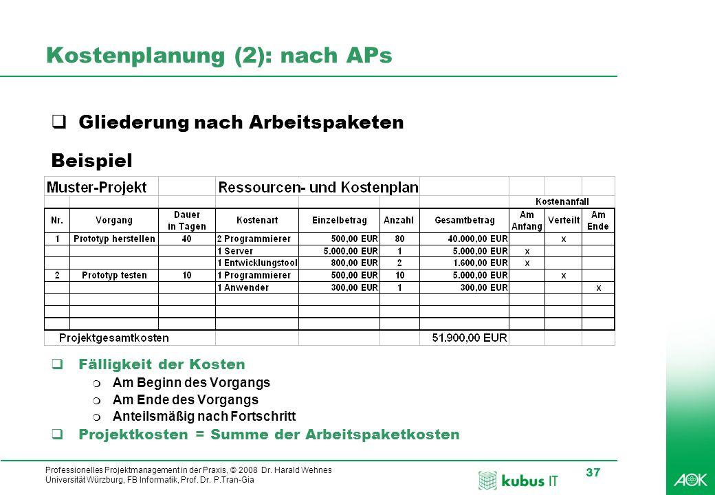 Professionelles Projektmanagement in der Praxis, © 2008 Dr. Harald Wehnes Universität Würzburg, FB Informatik, Prof. Dr. P.Tran-Gia 37 kubus-IT Kosten