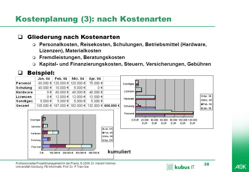 Professionelles Projektmanagement in der Praxis, © 2008 Dr. Harald Wehnes Universität Würzburg, FB Informatik, Prof. Dr. P.Tran-Gia 38 kubus-IT Kosten