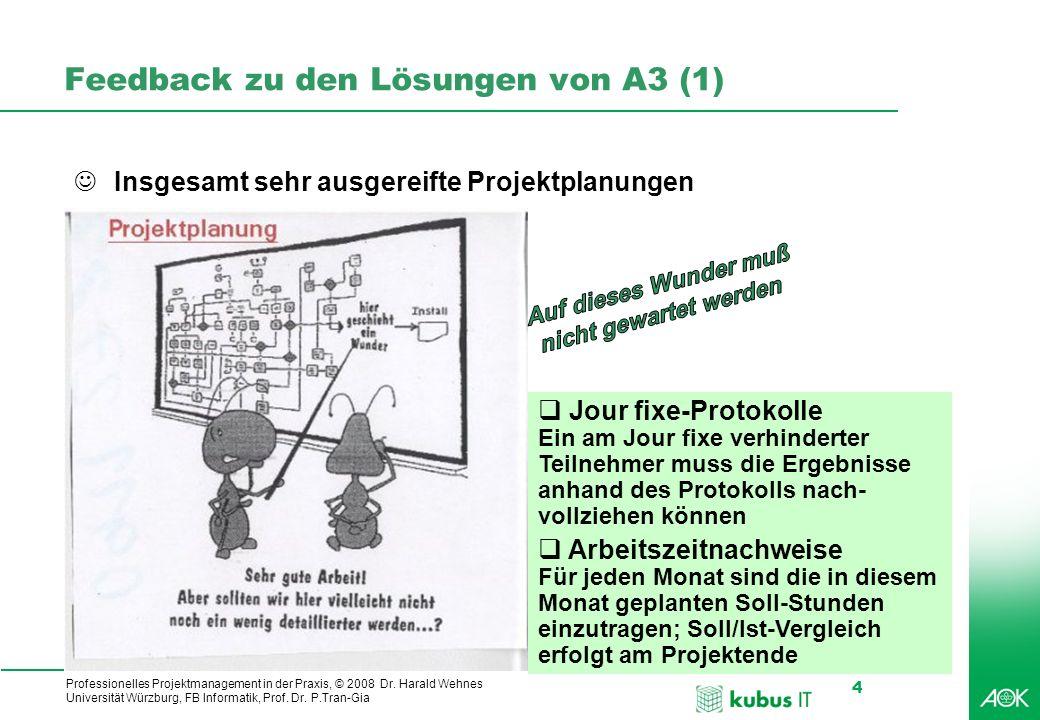 Professionelles Projektmanagement in der Praxis, © 2008 Dr. Harald Wehnes Universität Würzburg, FB Informatik, Prof. Dr. P.Tran-Gia 4 kubus-IT Feedbac