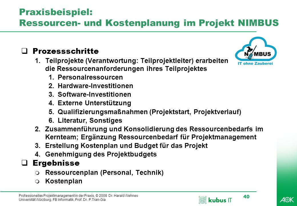 Professionelles Projektmanagement in der Praxis, © 2008 Dr. Harald Wehnes Universität Würzburg, FB Informatik, Prof. Dr. P.Tran-Gia 40 kubus-IT Praxis