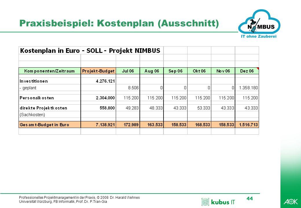 Professionelles Projektmanagement in der Praxis, © 2008 Dr. Harald Wehnes Universität Würzburg, FB Informatik, Prof. Dr. P.Tran-Gia 44 kubus-IT Praxis