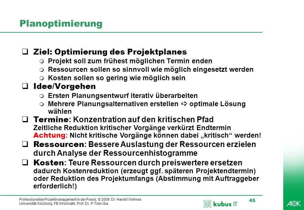 Professionelles Projektmanagement in der Praxis, © 2008 Dr. Harald Wehnes Universität Würzburg, FB Informatik, Prof. Dr. P.Tran-Gia 45 kubus-IT Planop