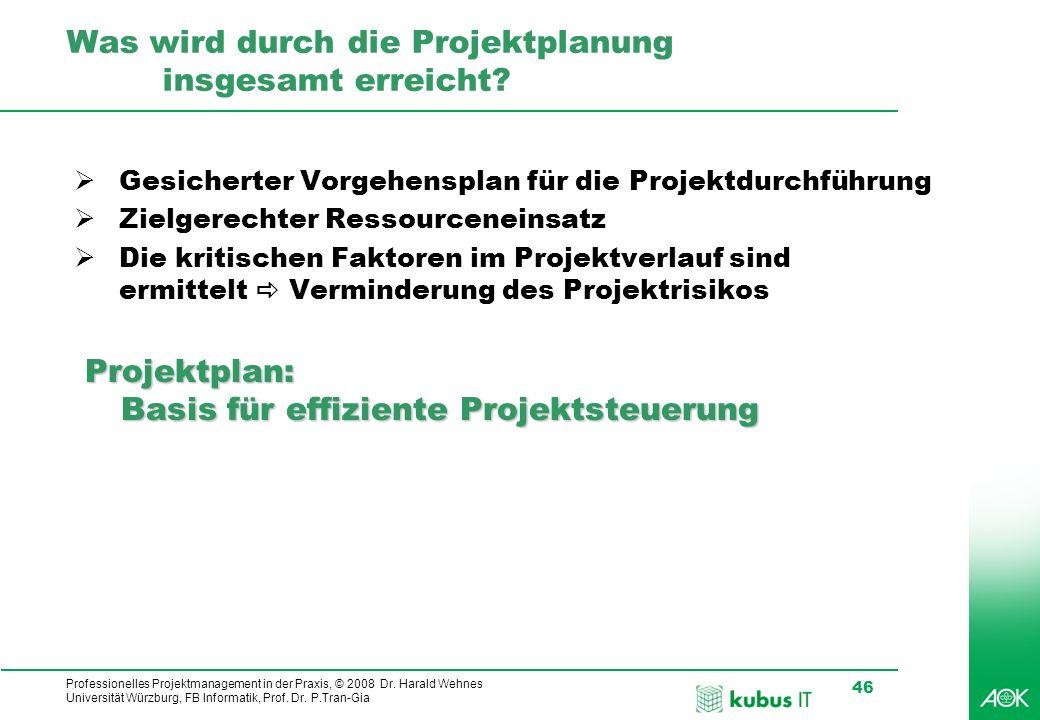 Professionelles Projektmanagement in der Praxis, © 2008 Dr. Harald Wehnes Universität Würzburg, FB Informatik, Prof. Dr. P.Tran-Gia 46 kubus-IT Was wi
