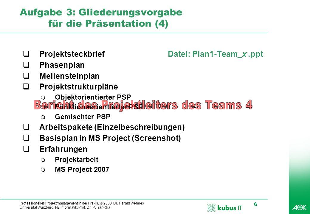 Professionelles Projektmanagement in der Praxis, © 2008 Dr. Harald Wehnes Universität Würzburg, FB Informatik, Prof. Dr. P.Tran-Gia 6 kubus-IT Aufgabe