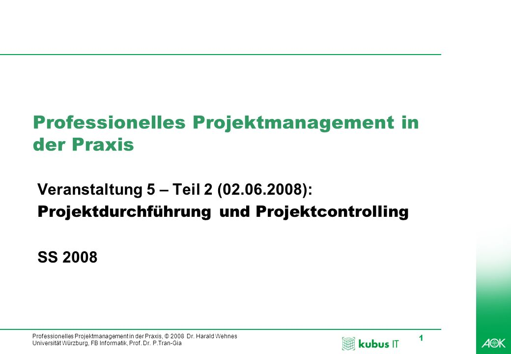 Professionelles Projektmanagement in der Praxis, © 2008 Dr. Harald Wehnes Universität Würzburg, FB Informatik, Prof. Dr. P.Tran-Gia 1 Professionelles
