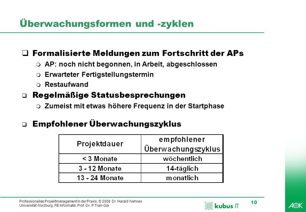 Professionelles Projektmanagement in der Praxis, © 2008 Dr. Harald Wehnes Universität Würzburg, FB Informatik, Prof. Dr. P.Tran-Gia 10 Überwachungsfor