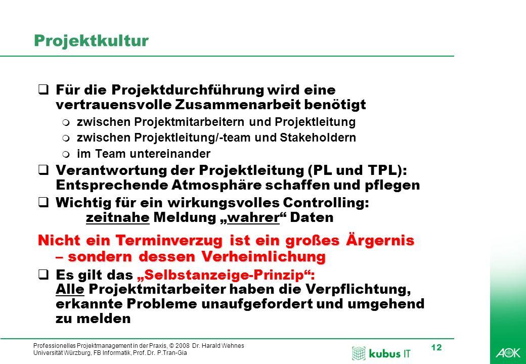 Professionelles Projektmanagement in der Praxis, © 2008 Dr. Harald Wehnes Universität Würzburg, FB Informatik, Prof. Dr. P.Tran-Gia 12 Projektkultur F