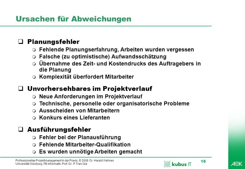 Professionelles Projektmanagement in der Praxis, © 2008 Dr. Harald Wehnes Universität Würzburg, FB Informatik, Prof. Dr. P.Tran-Gia 16 Ursachen für Ab