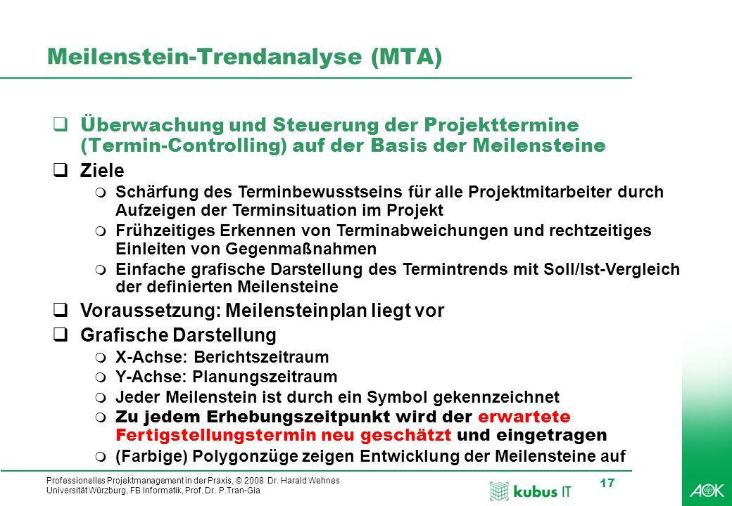 Professionelles Projektmanagement in der Praxis, © 2008 Dr. Harald Wehnes Universität Würzburg, FB Informatik, Prof. Dr. P.Tran-Gia 17 Meilenstein-Tre