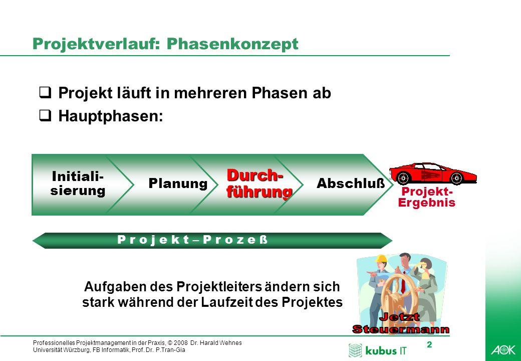 Professionelles Projektmanagement in der Praxis, © 2008 Dr. Harald Wehnes Universität Würzburg, FB Informatik, Prof. Dr. P.Tran-Gia 2 Projektverlauf: