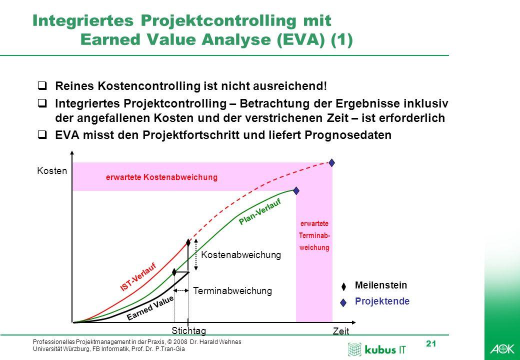 Professionelles Projektmanagement in der Praxis, © 2008 Dr. Harald Wehnes Universität Würzburg, FB Informatik, Prof. Dr. P.Tran-Gia 21 Integriertes Pr