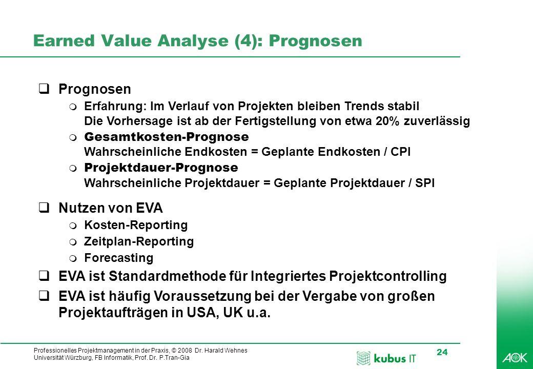 Professionelles Projektmanagement in der Praxis, © 2008 Dr. Harald Wehnes Universität Würzburg, FB Informatik, Prof. Dr. P.Tran-Gia 24 Earned Value An