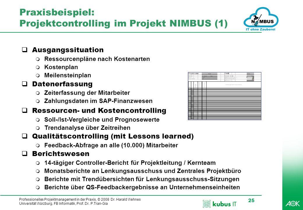 Professionelles Projektmanagement in der Praxis, © 2008 Dr. Harald Wehnes Universität Würzburg, FB Informatik, Prof. Dr. P.Tran-Gia 25 Praxisbeispiel: