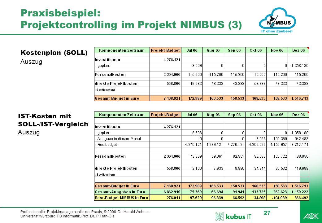 Professionelles Projektmanagement in der Praxis, © 2008 Dr. Harald Wehnes Universität Würzburg, FB Informatik, Prof. Dr. P.Tran-Gia 27 Praxisbeispiel: