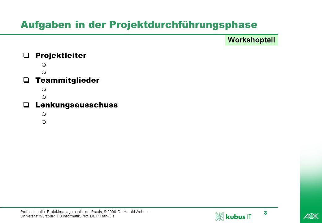 Professionelles Projektmanagement in der Praxis, © 2008 Dr. Harald Wehnes Universität Würzburg, FB Informatik, Prof. Dr. P.Tran-Gia 3 Aufgaben in der