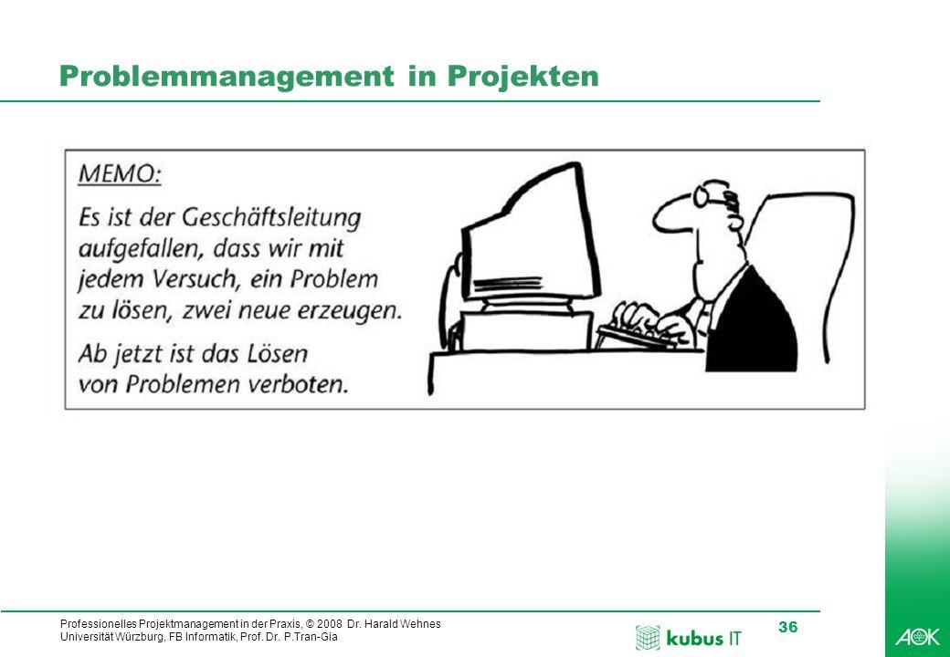 Professionelles Projektmanagement in der Praxis, © 2008 Dr. Harald Wehnes Universität Würzburg, FB Informatik, Prof. Dr. P.Tran-Gia 36 Problemmanageme