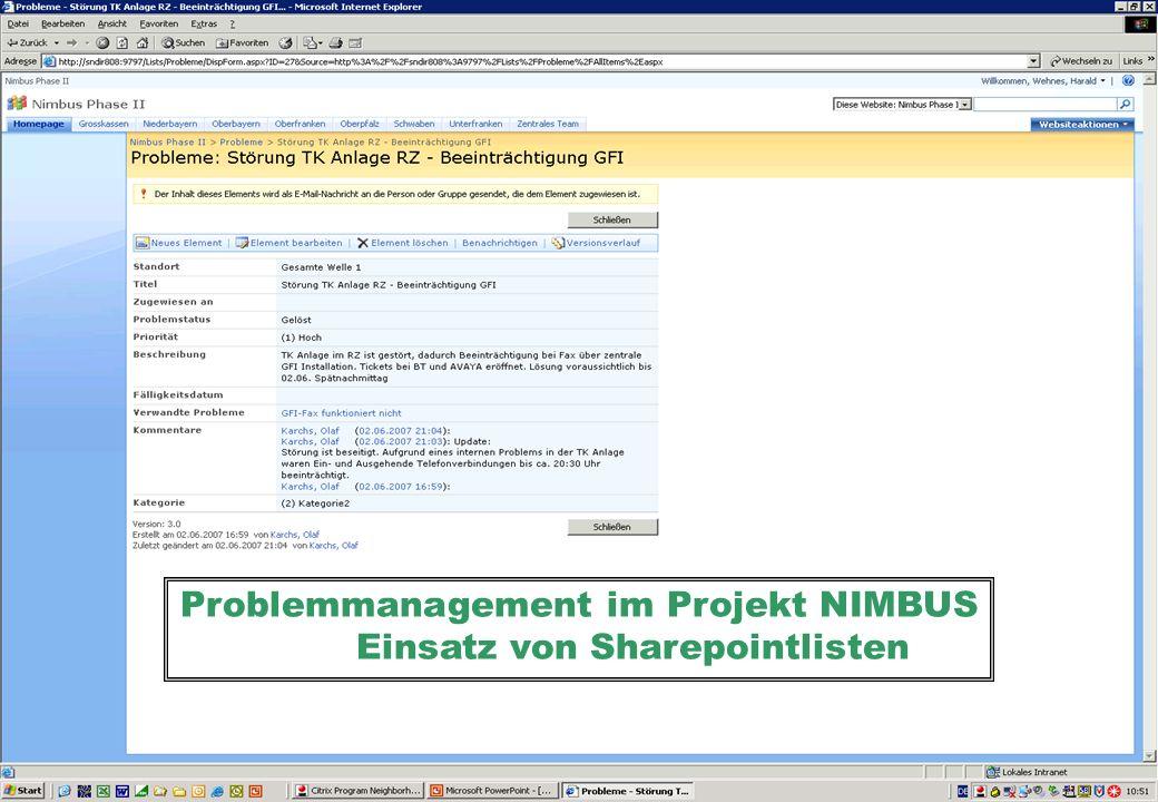 Professionelles Projektmanagement in der Praxis, © 2008 Dr. Harald Wehnes Universität Würzburg, FB Informatik, Prof. Dr. P.Tran-Gia 39 Problemmanageme