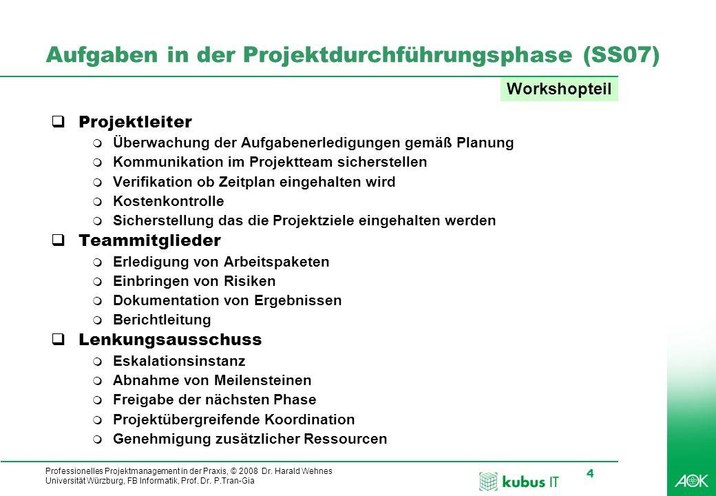 Professionelles Projektmanagement in der Praxis, © 2008 Dr. Harald Wehnes Universität Würzburg, FB Informatik, Prof. Dr. P.Tran-Gia 4 Aufgaben in der