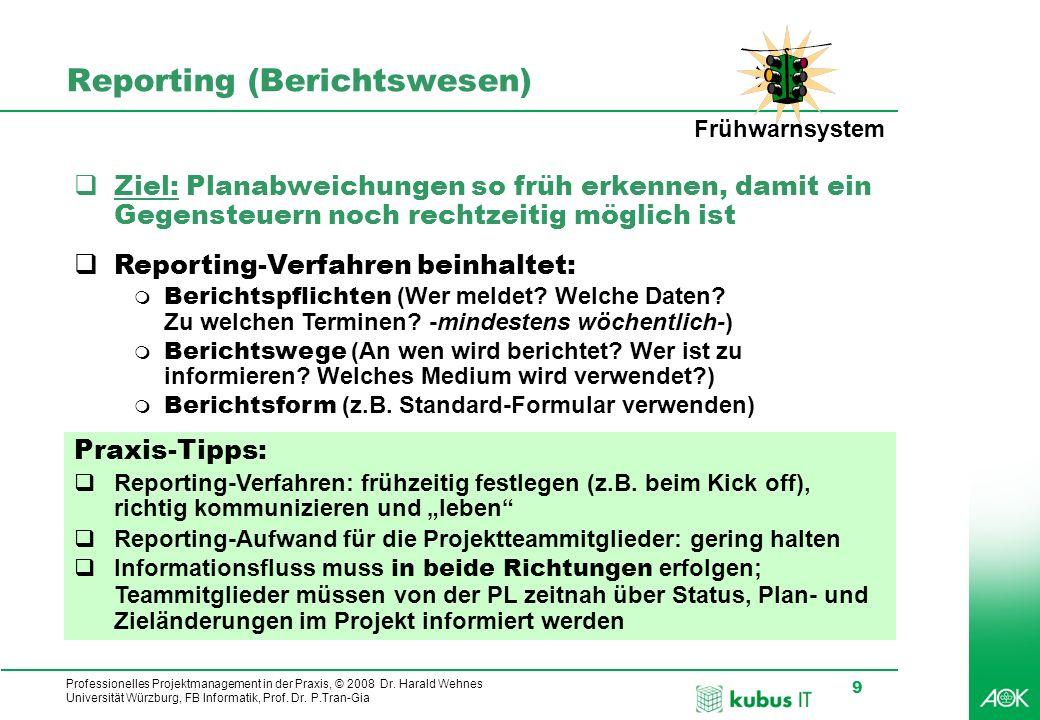 Professionelles Projektmanagement in der Praxis, © 2008 Dr. Harald Wehnes Universität Würzburg, FB Informatik, Prof. Dr. P.Tran-Gia 9 Reporting (Beric