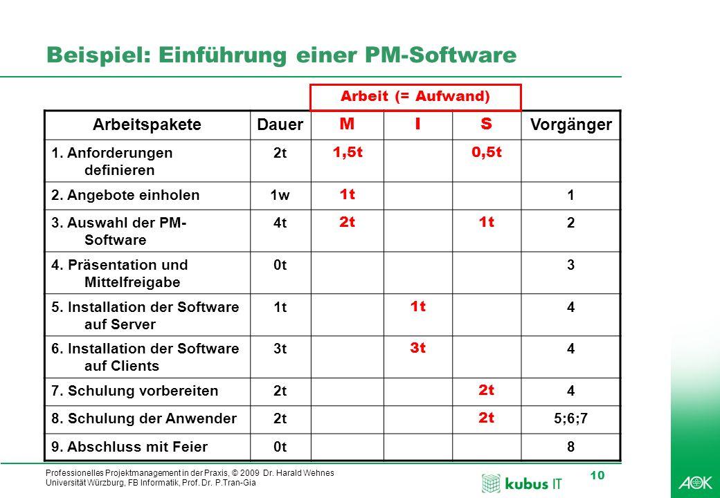 Professionelles Projektmanagement in der Praxis, © 2009 Dr. Harald Wehnes Universität Würzburg, FB Informatik, Prof. Dr. P.Tran-Gia 10 kubus-IT Beispi