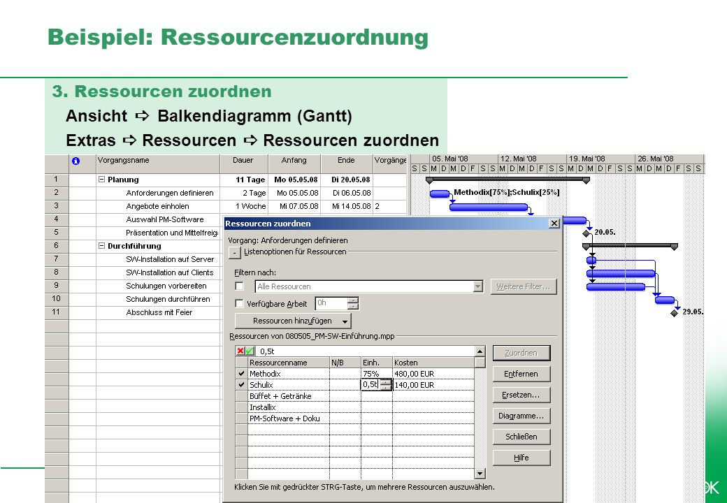 Professionelles Projektmanagement in der Praxis, © 2009 Dr. Harald Wehnes Universität Würzburg, FB Informatik, Prof. Dr. P.Tran-Gia 12 kubus-IT Beispi