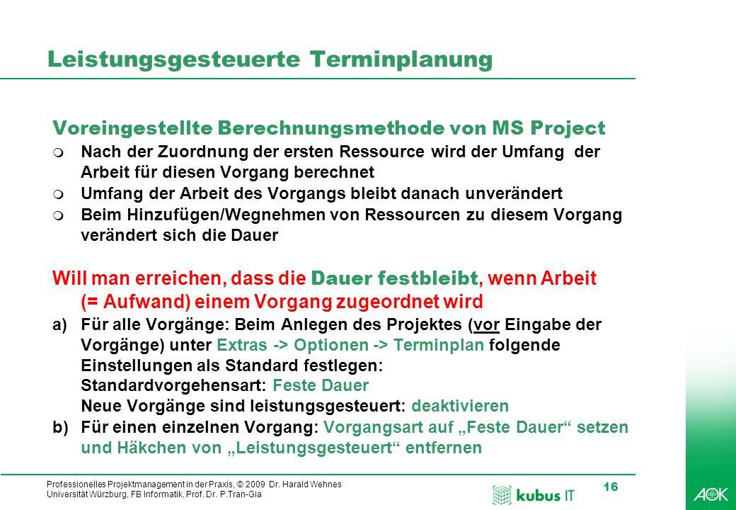 Professionelles Projektmanagement in der Praxis, © 2009 Dr. Harald Wehnes Universität Würzburg, FB Informatik, Prof. Dr. P.Tran-Gia 16 kubus-IT Leistu