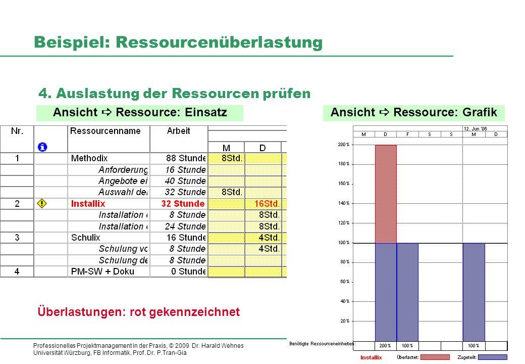 Professionelles Projektmanagement in der Praxis, © 2009 Dr. Harald Wehnes Universität Würzburg, FB Informatik, Prof. Dr. P.Tran-Gia 17 kubus-IT Beispi