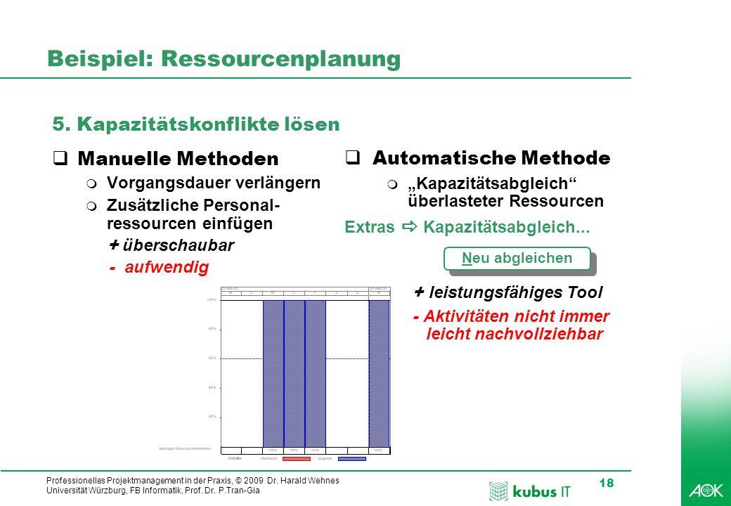 Professionelles Projektmanagement in der Praxis, © 2009 Dr. Harald Wehnes Universität Würzburg, FB Informatik, Prof. Dr. P.Tran-Gia 18 kubus-IT Beispi