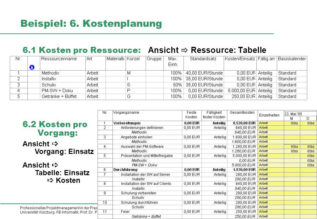 Professionelles Projektmanagement in der Praxis, © 2009 Dr. Harald Wehnes Universität Würzburg, FB Informatik, Prof. Dr. P.Tran-Gia 19 kubus-IT Beispi