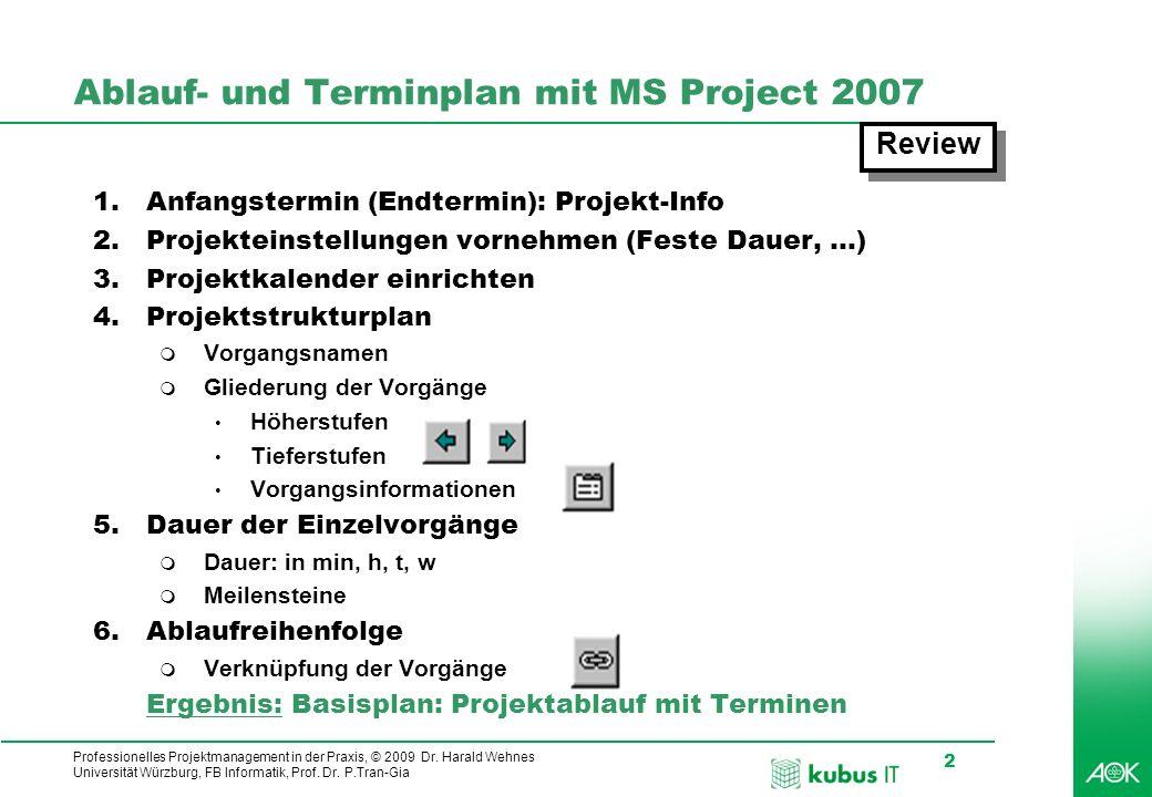 Professionelles Projektmanagement in der Praxis, © 2009 Dr. Harald Wehnes Universität Würzburg, FB Informatik, Prof. Dr. P.Tran-Gia 2 kubus-IT Ablauf-