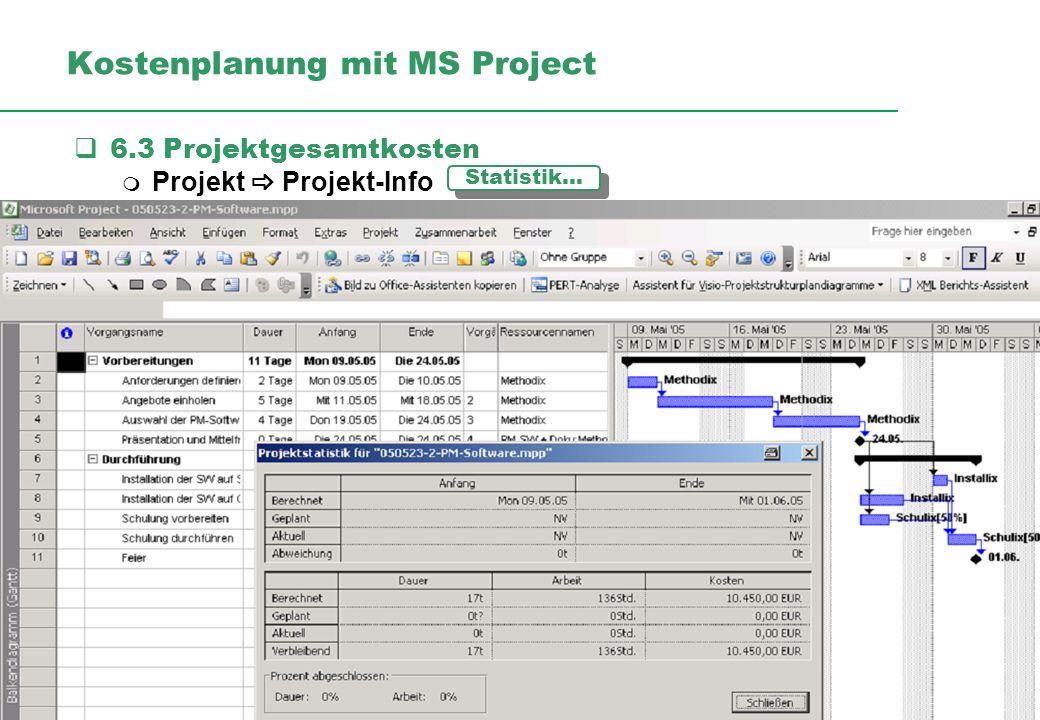 Professionelles Projektmanagement in der Praxis, © 2009 Dr. Harald Wehnes Universität Würzburg, FB Informatik, Prof. Dr. P.Tran-Gia 20 kubus-IT Kosten