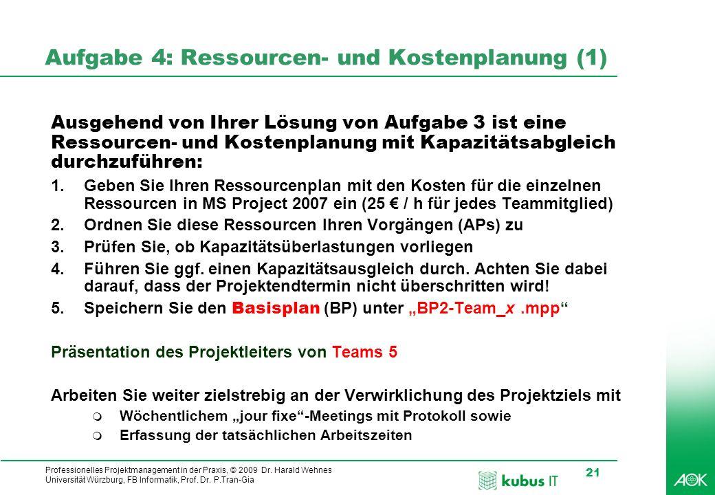 Professionelles Projektmanagement in der Praxis, © 2009 Dr. Harald Wehnes Universität Würzburg, FB Informatik, Prof. Dr. P.Tran-Gia 21 kubus-IT Aufgab