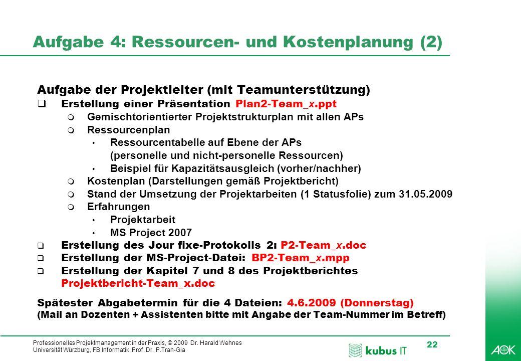 Professionelles Projektmanagement in der Praxis, © 2009 Dr. Harald Wehnes Universität Würzburg, FB Informatik, Prof. Dr. P.Tran-Gia 22 kubus-IT Aufgab
