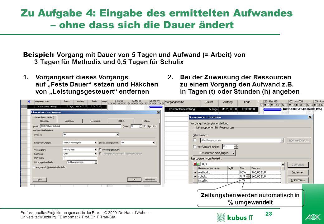 Professionelles Projektmanagement in der Praxis, © 2009 Dr. Harald Wehnes Universität Würzburg, FB Informatik, Prof. Dr. P.Tran-Gia 23 kubus-IT Zu Auf
