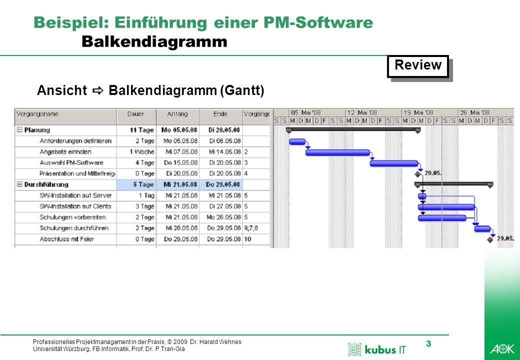 Professionelles Projektmanagement in der Praxis, © 2009 Dr. Harald Wehnes Universität Würzburg, FB Informatik, Prof. Dr. P.Tran-Gia 3 kubus-IT Beispie