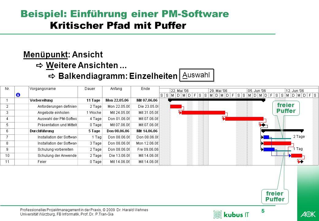 Professionelles Projektmanagement in der Praxis, © 2009 Dr. Harald Wehnes Universität Würzburg, FB Informatik, Prof. Dr. P.Tran-Gia 5 kubus-IT Beispie