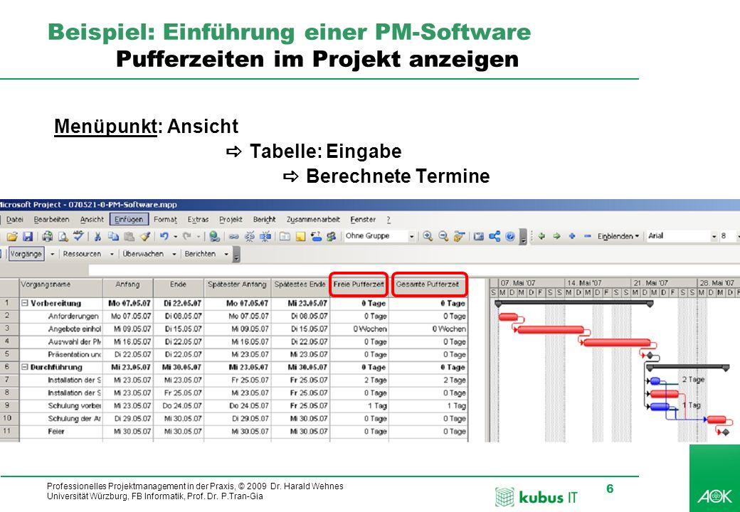 Professionelles Projektmanagement in der Praxis, © 2009 Dr. Harald Wehnes Universität Würzburg, FB Informatik, Prof. Dr. P.Tran-Gia 6 kubus-IT Beispie