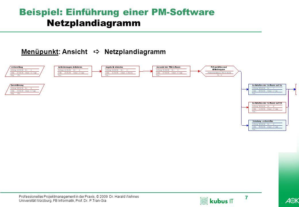 Professionelles Projektmanagement in der Praxis, © 2009 Dr. Harald Wehnes Universität Würzburg, FB Informatik, Prof. Dr. P.Tran-Gia 7 kubus-IT Beispie