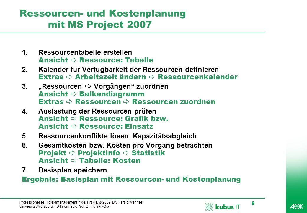 Professionelles Projektmanagement in der Praxis, © 2009 Dr. Harald Wehnes Universität Würzburg, FB Informatik, Prof. Dr. P.Tran-Gia 8 kubus-IT Ressour